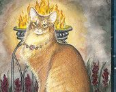 King of Fire, Giclee Print, from Mystical Cats Tarot