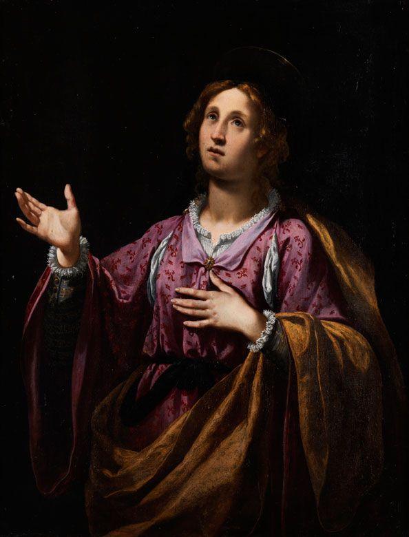 Heilige in Ekstase Öl auf Leinwand. Doubliert. 116 × 89 cm. Gerahmt. Dem Gemälde ist eine Expertise von Prof. Sandro Bellesi beigegeben. Der...