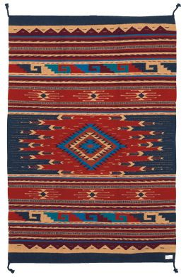 Quality Handmade Maya Modern Accent Rug In Blue And Red