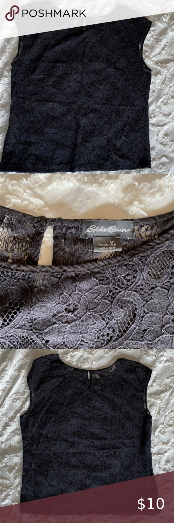 Eddie Bauer, black lace shirt in 2020 Black lace shirt
