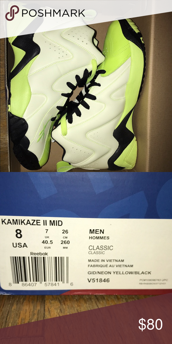 Reebok Kamikaze II sneakers These sneakers glow in the dark. Worn only  once. Like new condition! Reebok Shoes Sneakers 26c43c6e5
