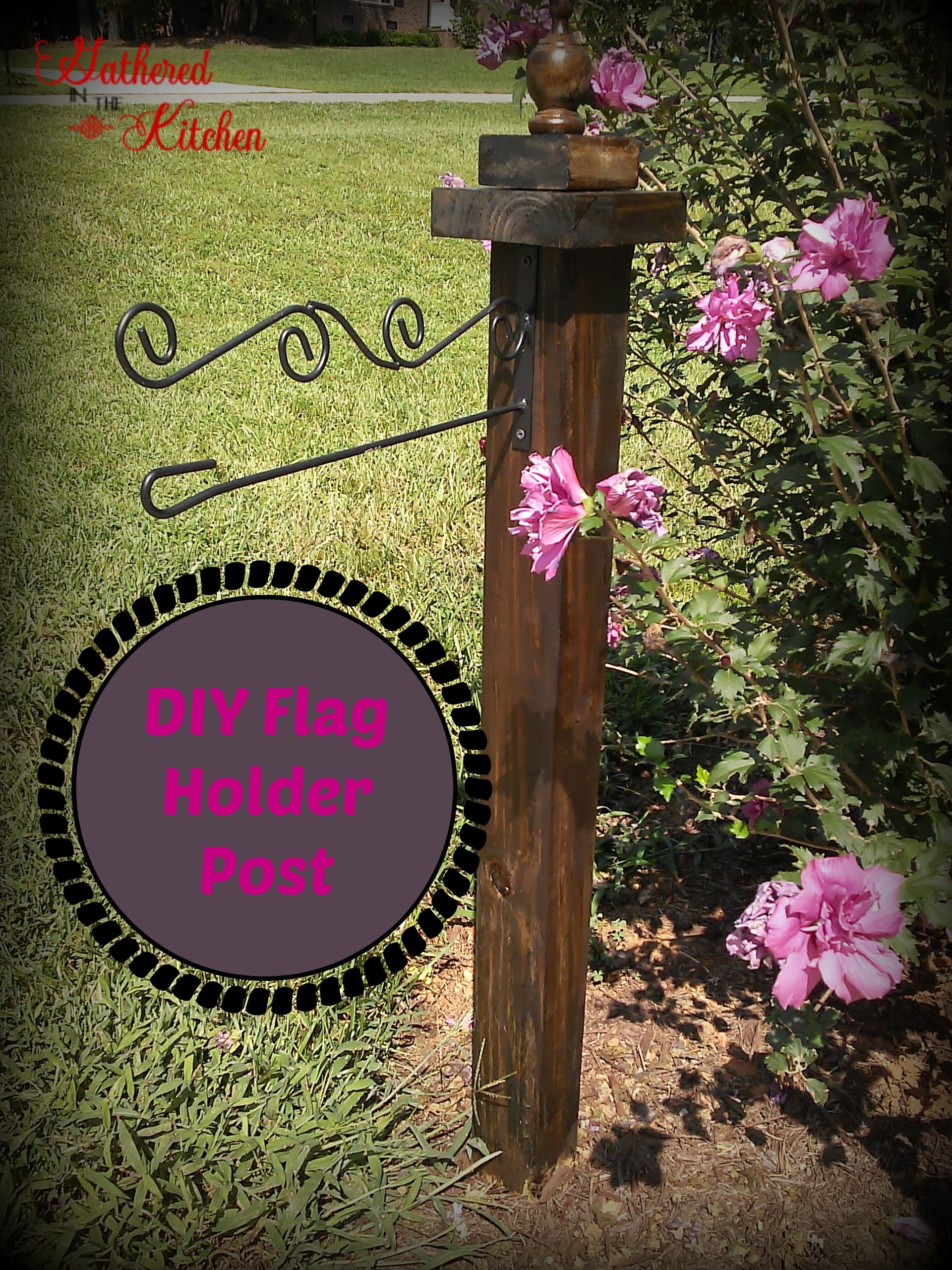hang a wooden letter from your garden flag post