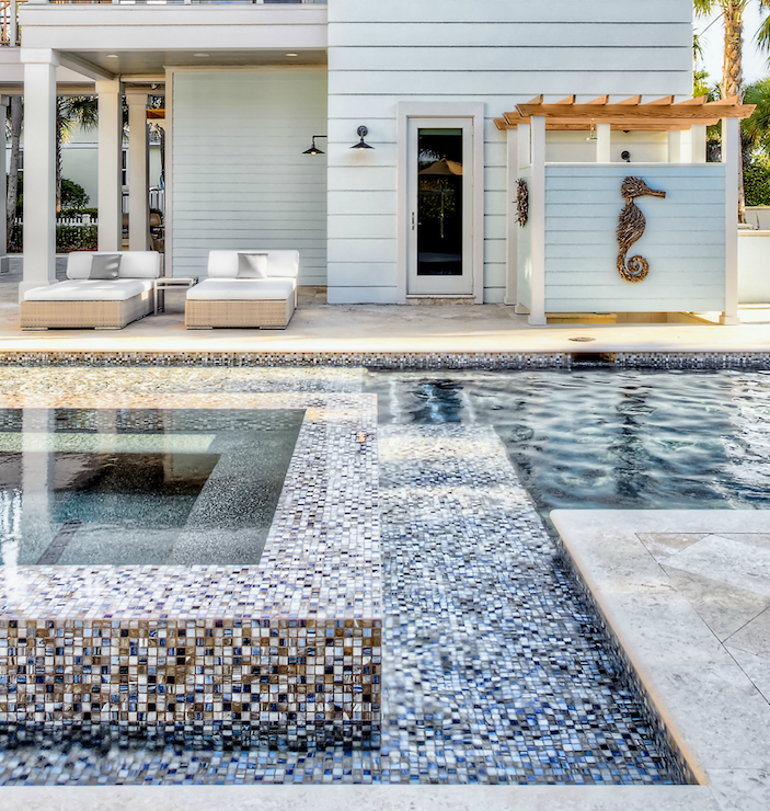 Mosaic Tile Pool Designs iridescent glass tile set in a running bond pattern adorns this uniquely shaped spa Gorgeous Mosaic Designs For Swimming Pools With Perimeter Overflow Swimming Pool Design Also Pergola Outdoor Shower