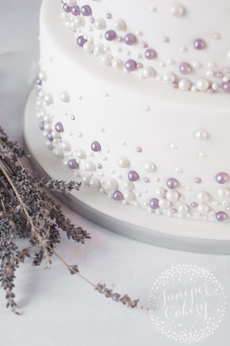 Ivory and lavender pearl embellished wedding cake by Juniper Cakery ...