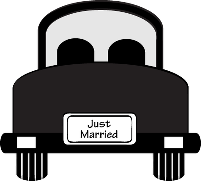 A Black and White Cartoon of a Newlywed Couple - Royalty Free Clipart  Picture