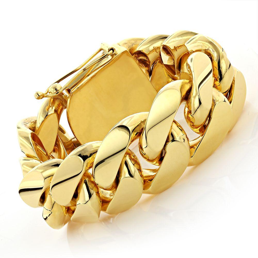 a5382954f4f10 Half Kilo Miami Cuban Link Gold Bracelet Solid 10K | Gold | Mens ...