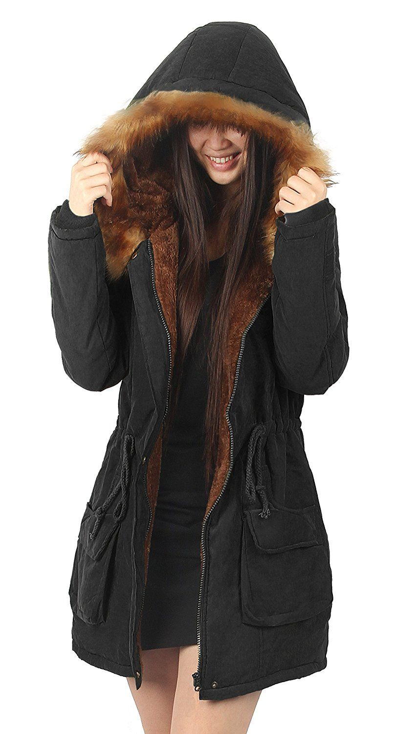 35f2ae96b03 Amazon.com  iLoveSIA Womens Hooded Warm Coats Parkas with Faux Fur Jackets   Clothing