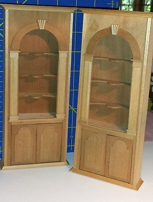 Dollhouse Miniatures Lot Of 2 Vintage Unpainted Cabinets 1:12 By Martha  Dunkel $69.00