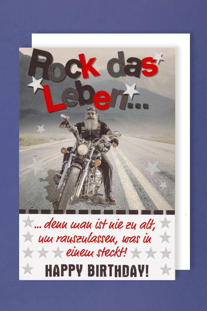 Manner Geburtstag Karte Grusskarte Glitterdruck Biker Rock 16x11cm