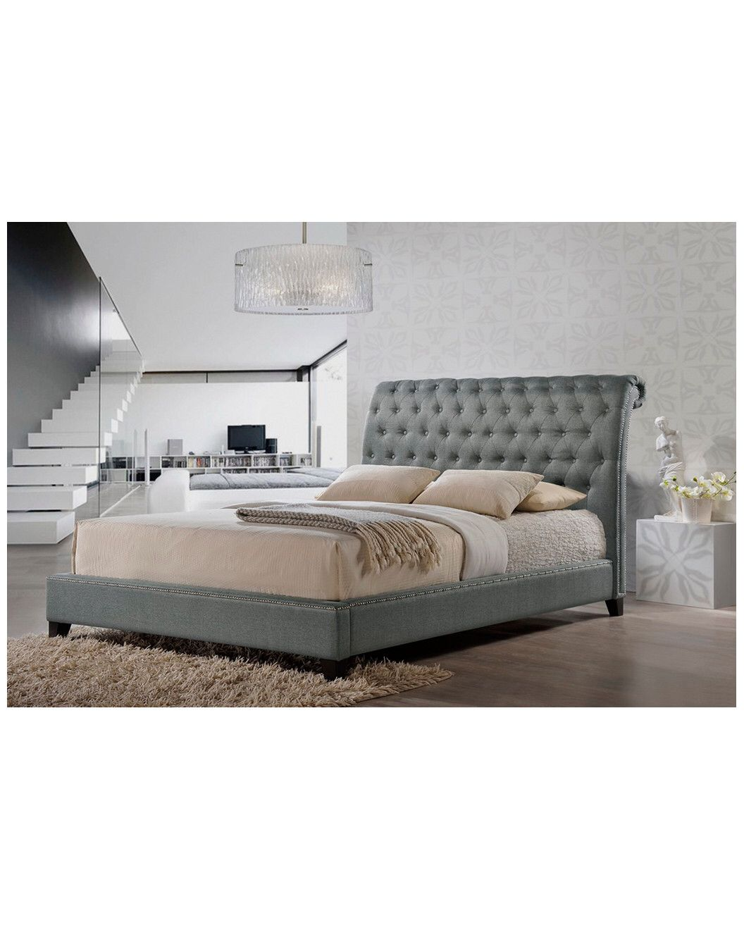 You need to see this Jazmin Tufted Grey Modern Queen Bed with ...