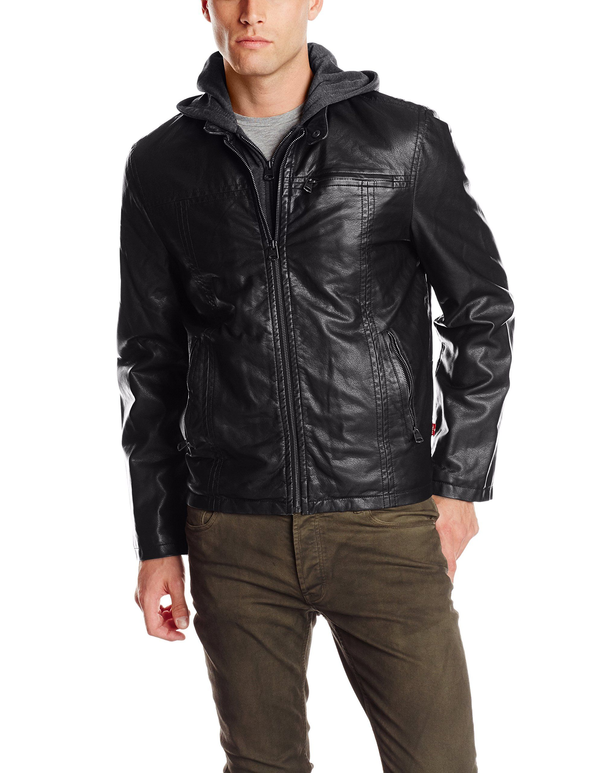 13f67ff0d5 Levi s Men s Faux-Leather Jacket with Hood in 2019