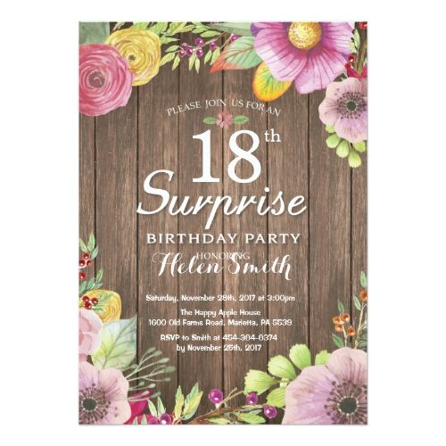 Rustic Floral Surprise 18th Birthday Invitation