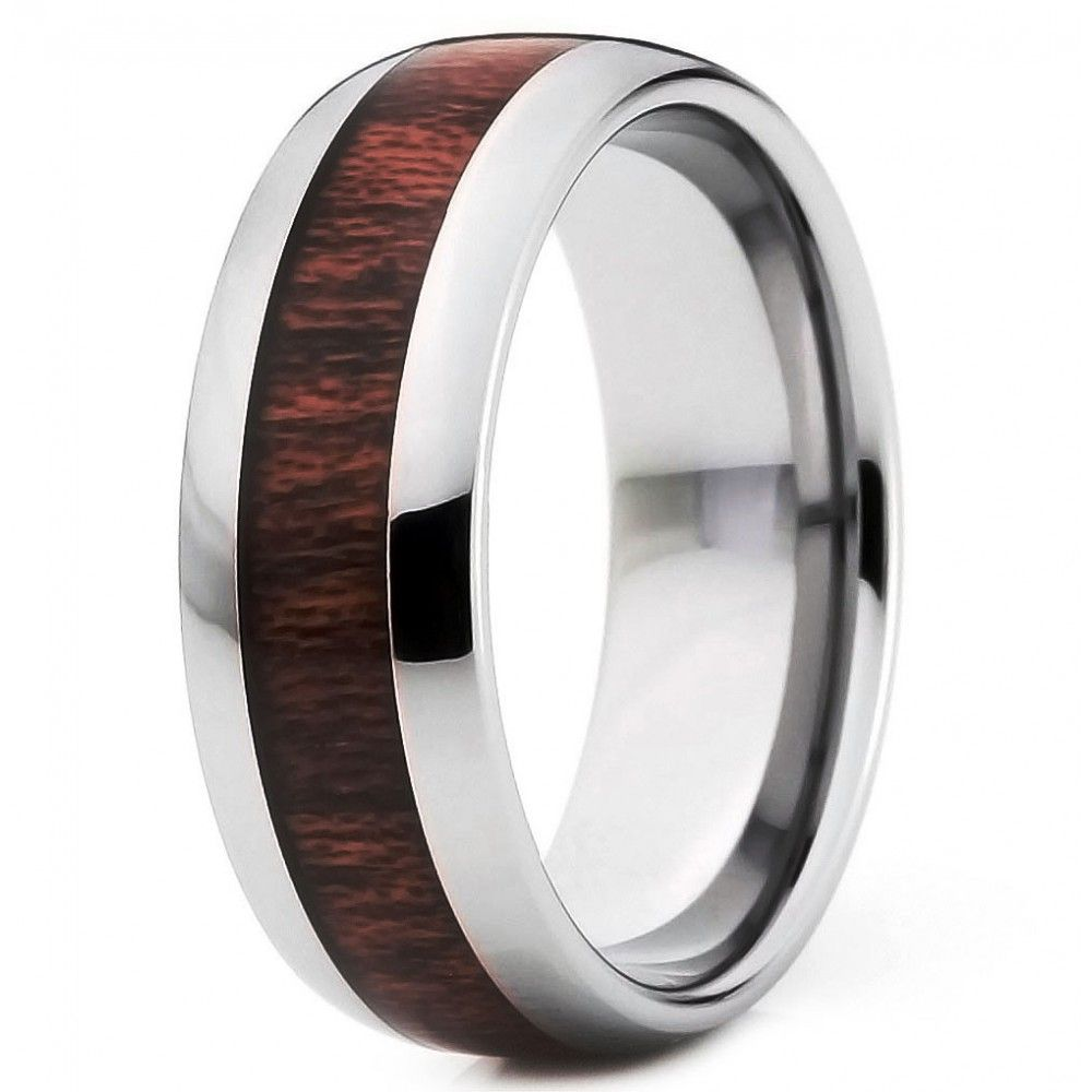 Exceptionnel Bague homme anneau dome tungstene bois rouge central | mode  UF56
