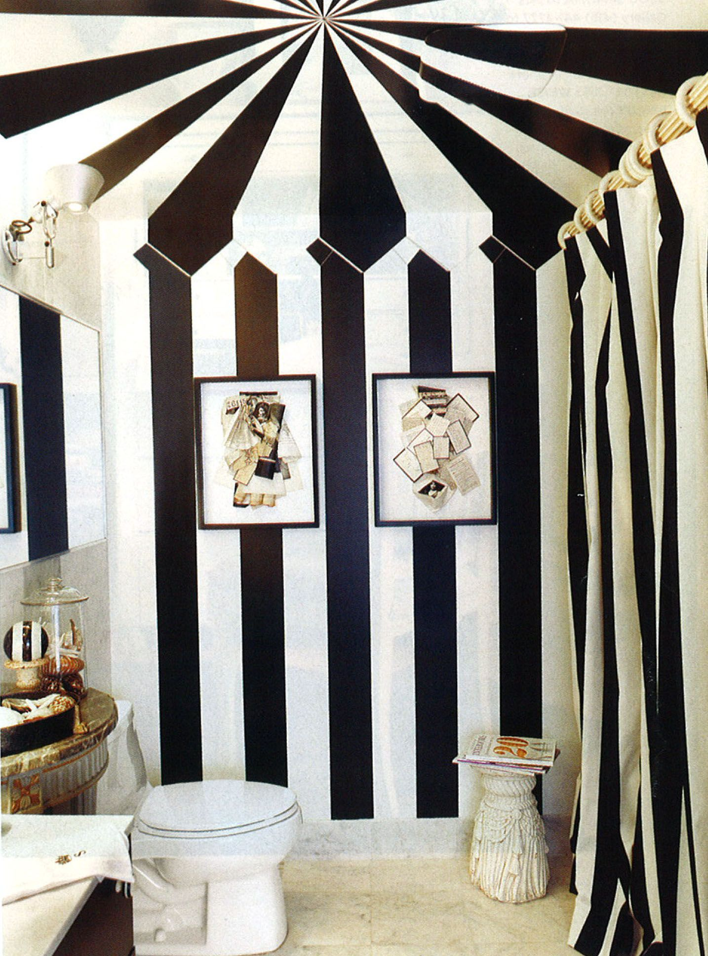 Really Awesome Painted Slanted Ceiling And Walls Striped Walls