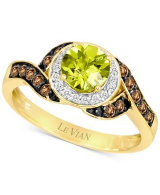 Le Vian Peridot (7/8 ct. t.w.) and Diamond (1/3 ct. t.w.) Ring in 14k Gold…