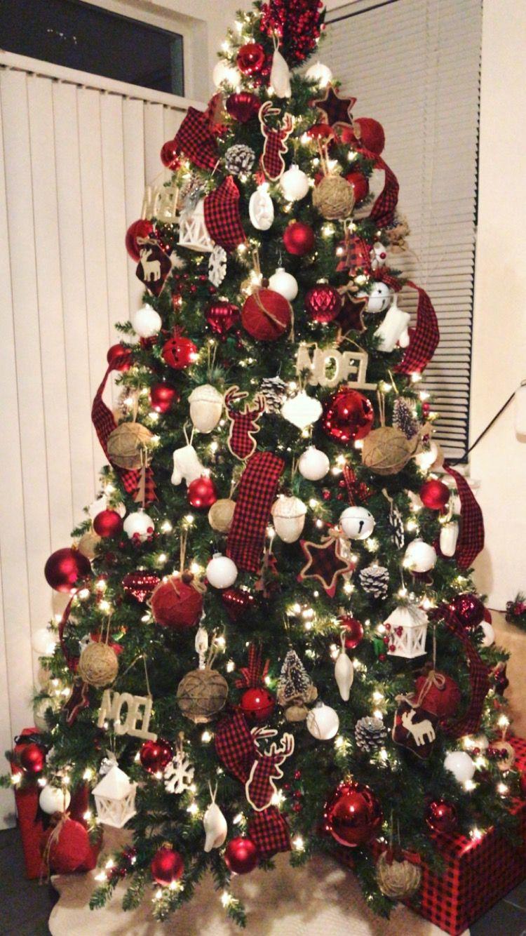 Buffalo Plaid Christmas Tree Ribbon On Christmas Tree Christmas Tree Inspiration Burlap Christmas Tree