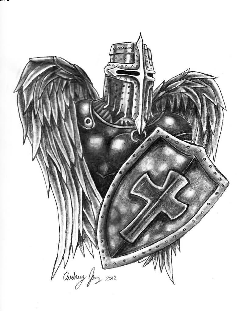 Angel Warrior Tattoo Design Angel Warrior Tattoo Warrior Tattoos Knight Tattoo