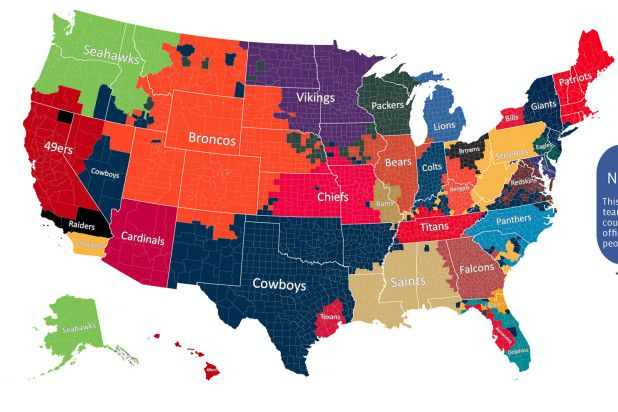 A new color-coded map shows just how much reach your favorite NFL ...