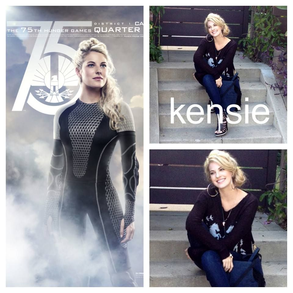 """""""The Hunger Games: Catching Fire""""'s Stephanie Leigh Schlund looks fierce in our Kensie sweater and denim!"""
