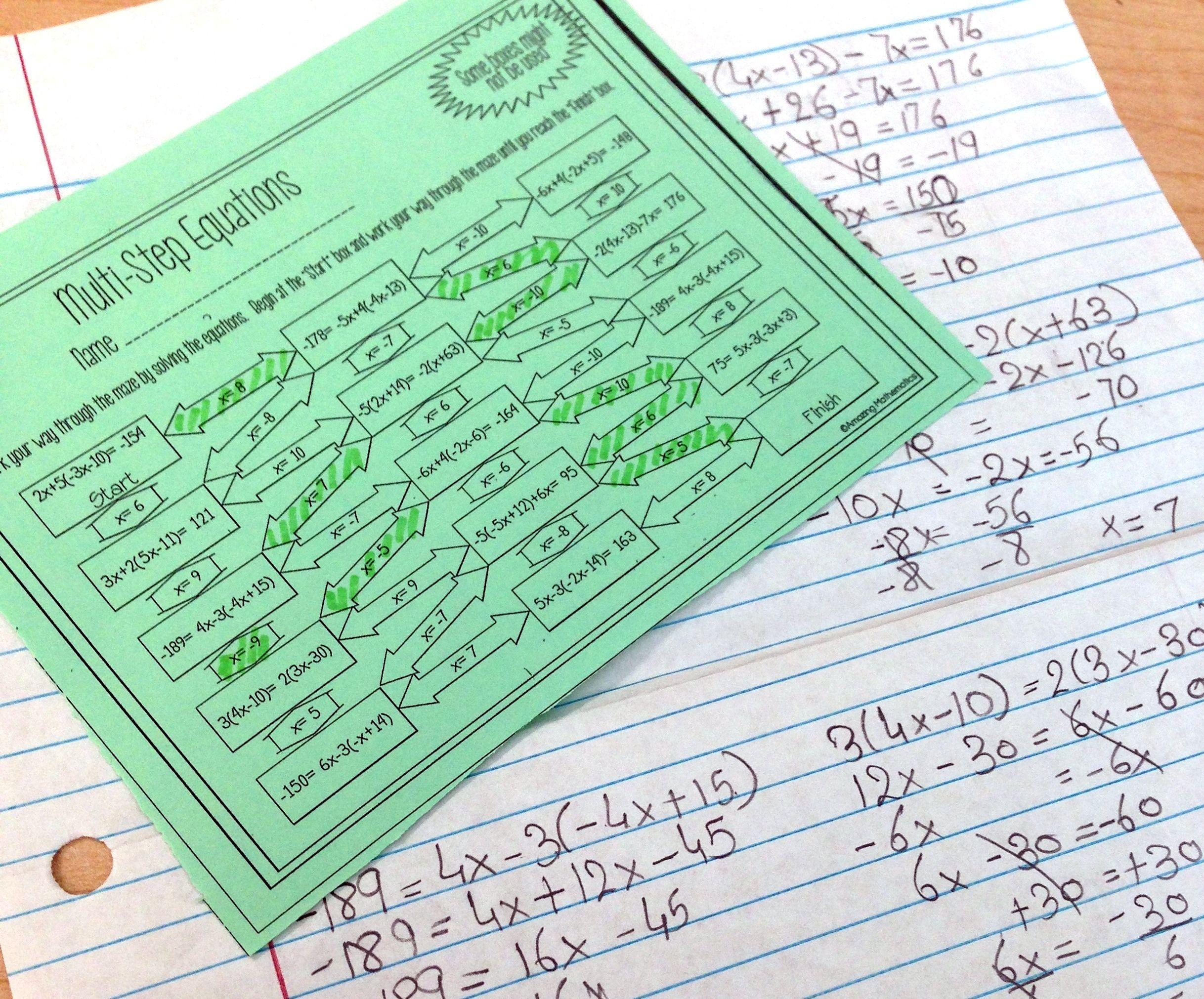 Solving Multi Step Equations Maze Worksheet