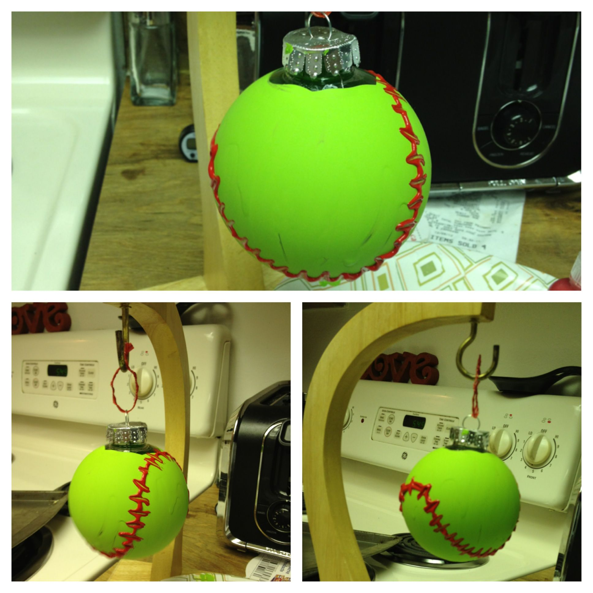 Acrylic clear ornaments - Homemade Softball Ornament Clear Plastic Ornament Green Acrylic Paint And Red Puff Paint