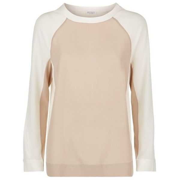 Brunello Cucinelli Silk Panel Top ($1,180) ❤ liked on Polyvore featuring tops, block tops, silk top, brunello cucinelli top, long sleeve silk top et beige top