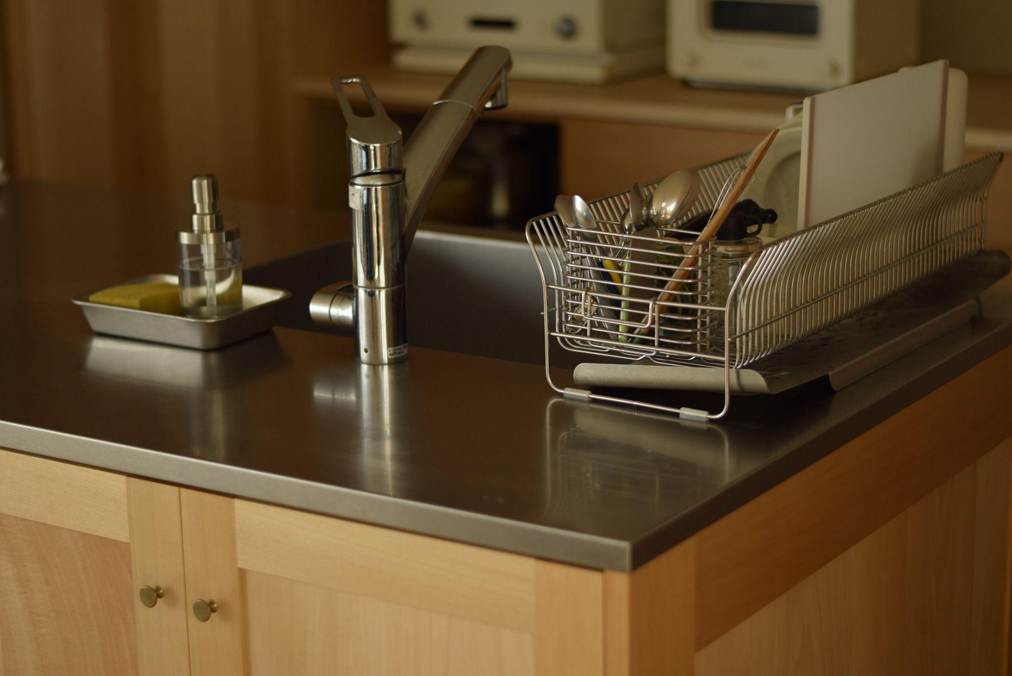 キッチン バスウッド無垢材 天板 ステンレスバイブレーション仕上げ