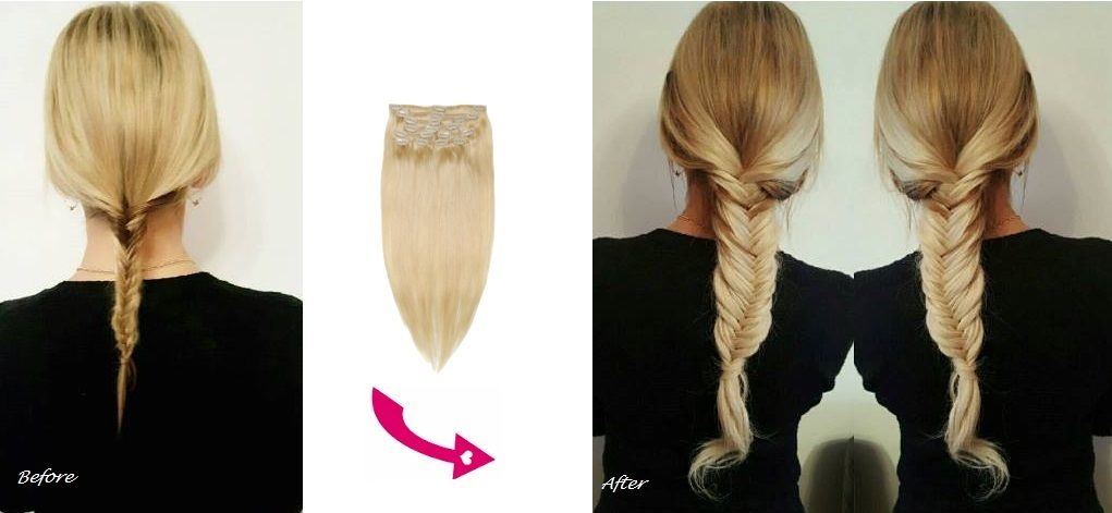26 Inch 65cm Long Double Wefted 260g Full Head Clip In Human Hair