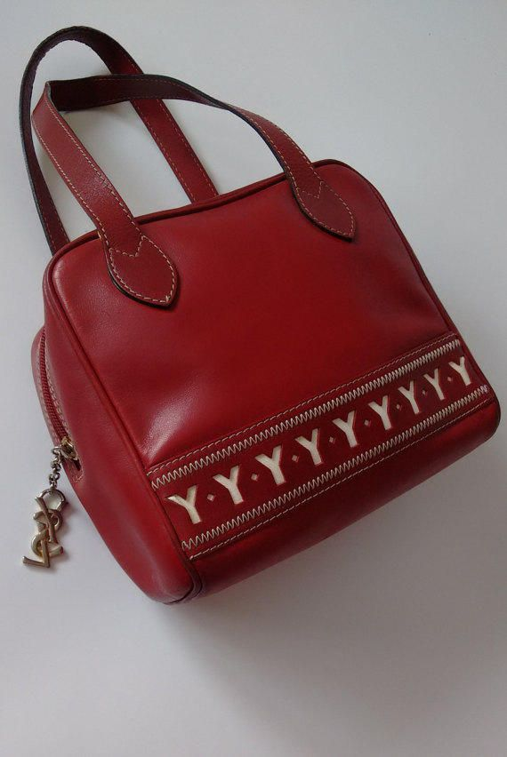 89e7dd6a6244 YSL Yves Saint Laurent Vintage Burgundy Maroon Genuine Leather Bowling Bag.