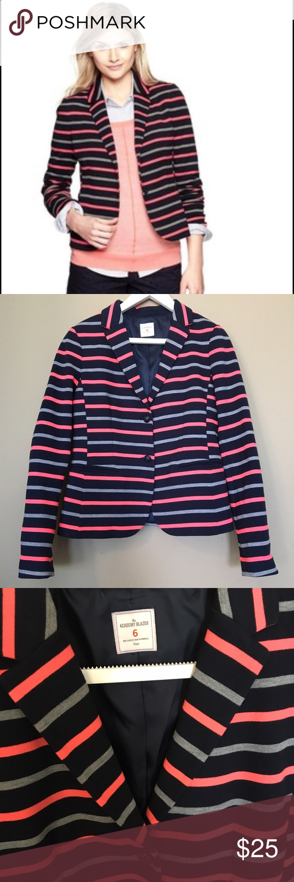 Gap Academy Blazer navy blue pink stripe Pretty navy blue and hot ...