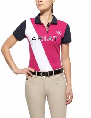 ARIAT Girls Taryn Short Sleeved Polo Shirt Navy//Nautilus
