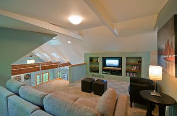 loft media room design tv  larger  family home media room design boys game