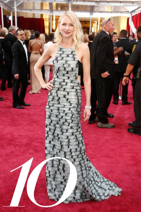 Naomi Watts - Oscars 2015 Watts is forever a favorite (her stylist Jeanann Williams has a nose for what's cool ) and this tiled, black-and-whiteArmani Prive gown with sexy cutouts has all the editors at BAZAAR in tears of joy.