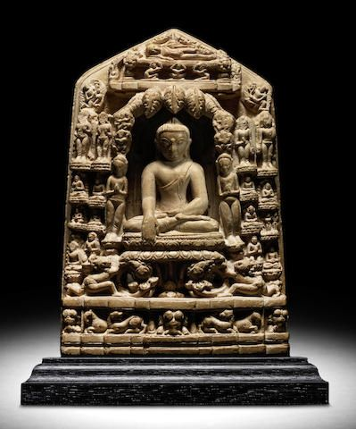 A STONE PLAQUE WITH SCENES FROM THE LIFE OF BUDDHA NORTHEASTERN INDIA, PALA PERIOD, 11TH/12TH CENTURY