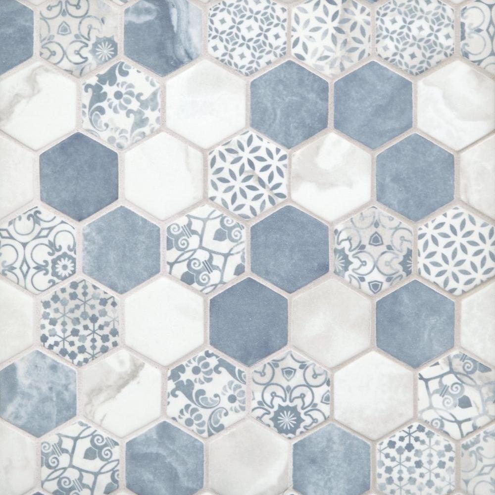 Chateau Blue 2 In Hexagon Recycled Glass Mosaic Blue Bathroom Tile Hexagon Mosaic Glass