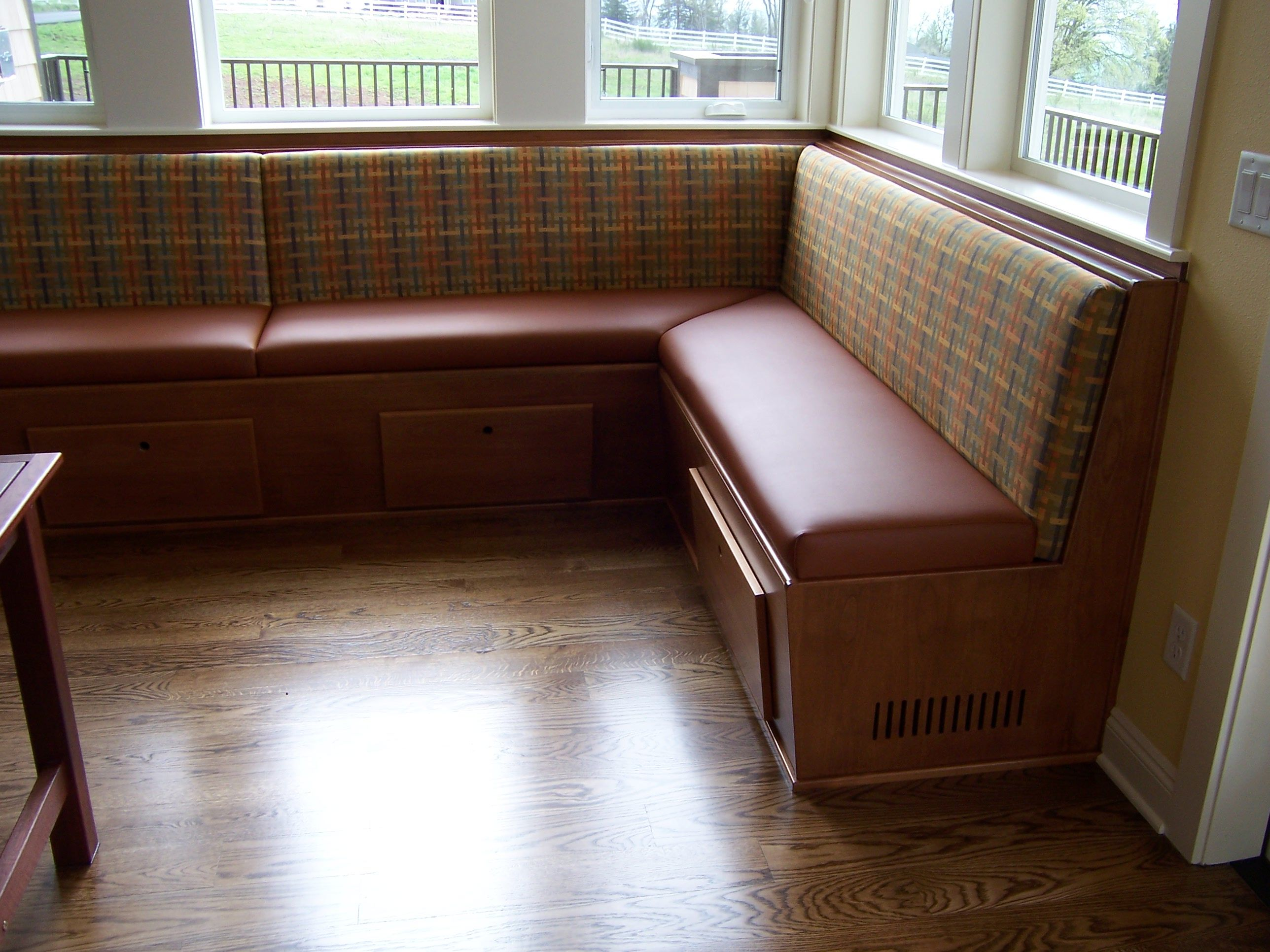 Banquette Bench Adding Coziness And Warmth To Your Kitchen Enjoyable Brown Fabric Banquette