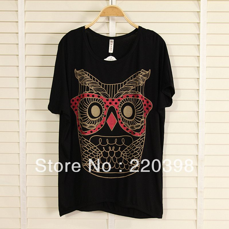 2013 new fashion plus size women clothing t shirt punk sexy tops tee clothes T-shirt Mixed colors owl print