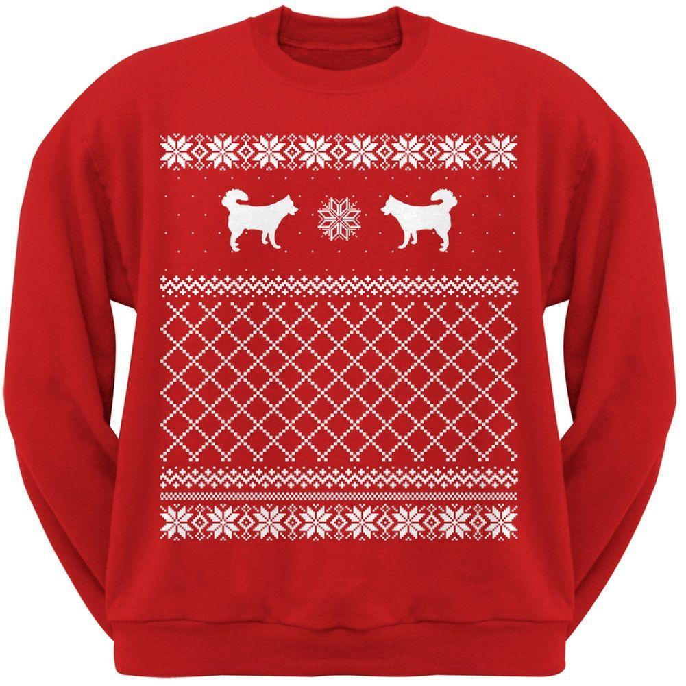 Alaskan Husky Black Adult Ugly Christmas Sweater Crew Neck Sweatshirt