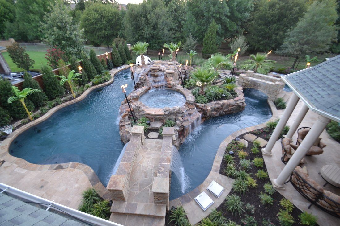 garden and patio  top view large backyard lazy river pool design with small pool in the middle