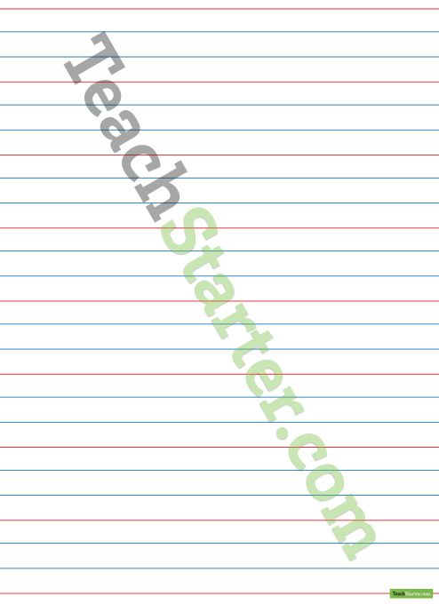 Handwriting Paper with Red Guidelines u2013 Portrait Teaching Resource - notebook paper template