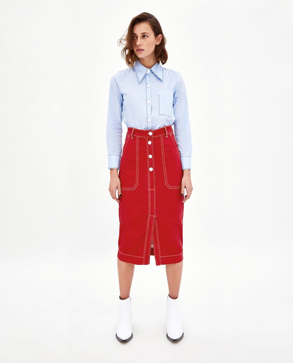6bb83ec0 FALDA PESPUNTES CONTRASTADOS | That's So Fashion | Zara skirts ...