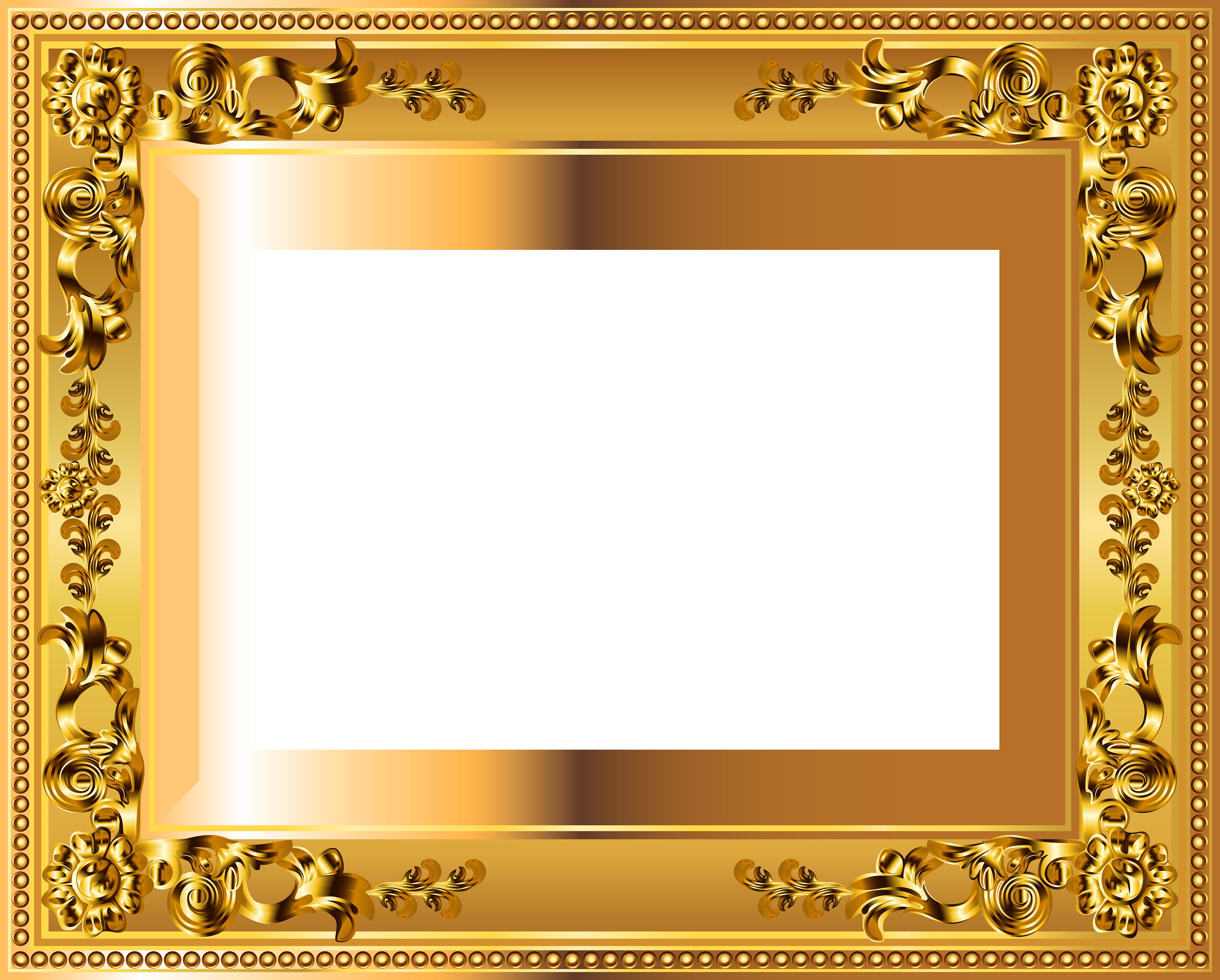 Gold Deco Border Frame Transparent Png Image Gallery Yopriceville High Quality Images And Transparent Png Free Clip Frame Picture Frame Designs Gold Frame