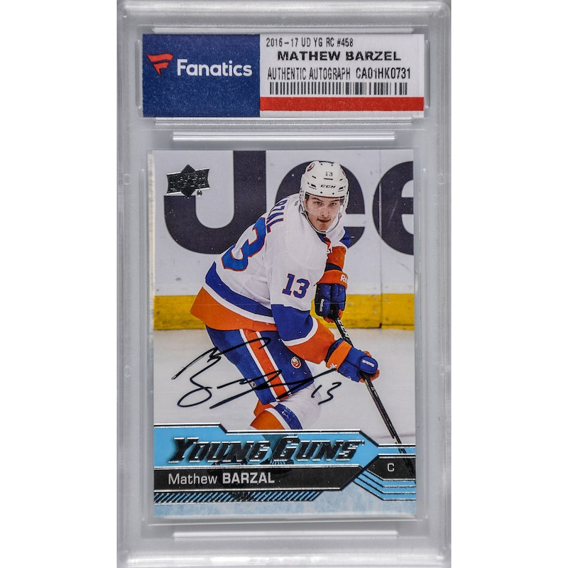 check out 469b4 8d22a Mathew Barzal New York Islanders Fanatics Authentic Autographed 2016-17  Upper Deck Young Guns Rookie  458 Card