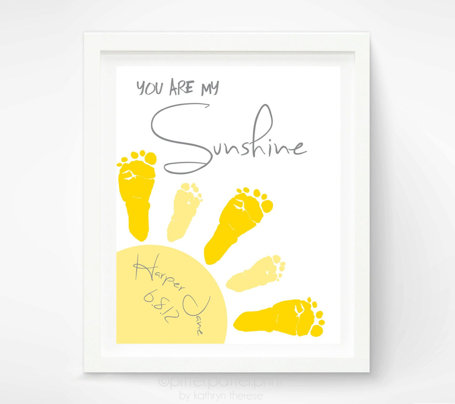 You Are My Sunshine Art New Baby Gift, Footprint Custom Nursery ...