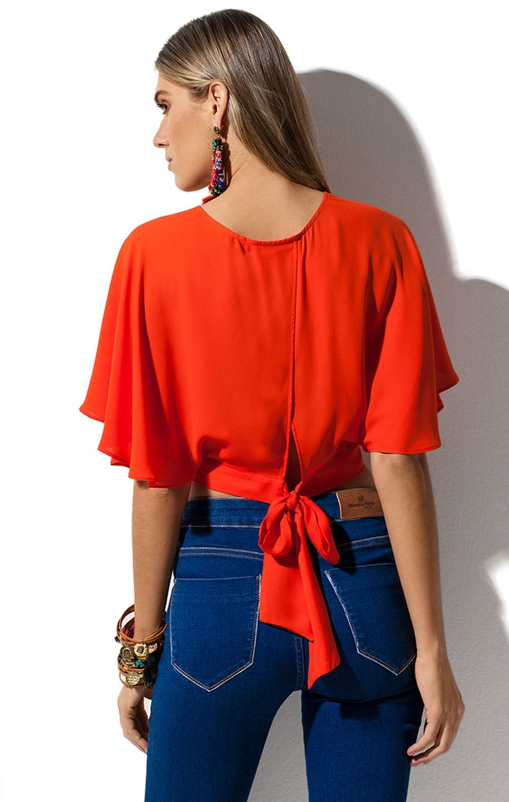 cae7f1b18 Blusa Transpasse Amarração Morena Rosa Blusas Vermelhas