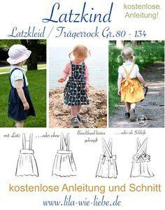 Freebook Latzkind - Latzkleid / Trägerrock Gr. 80-134 - Lila wie Liebe