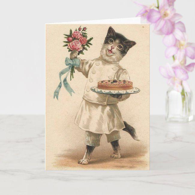 Victorian White Cat In Shoe Birthday Card Zazzle Com Vintage Birthday Cards Greeting Card Art Happy Birthday Vintage
