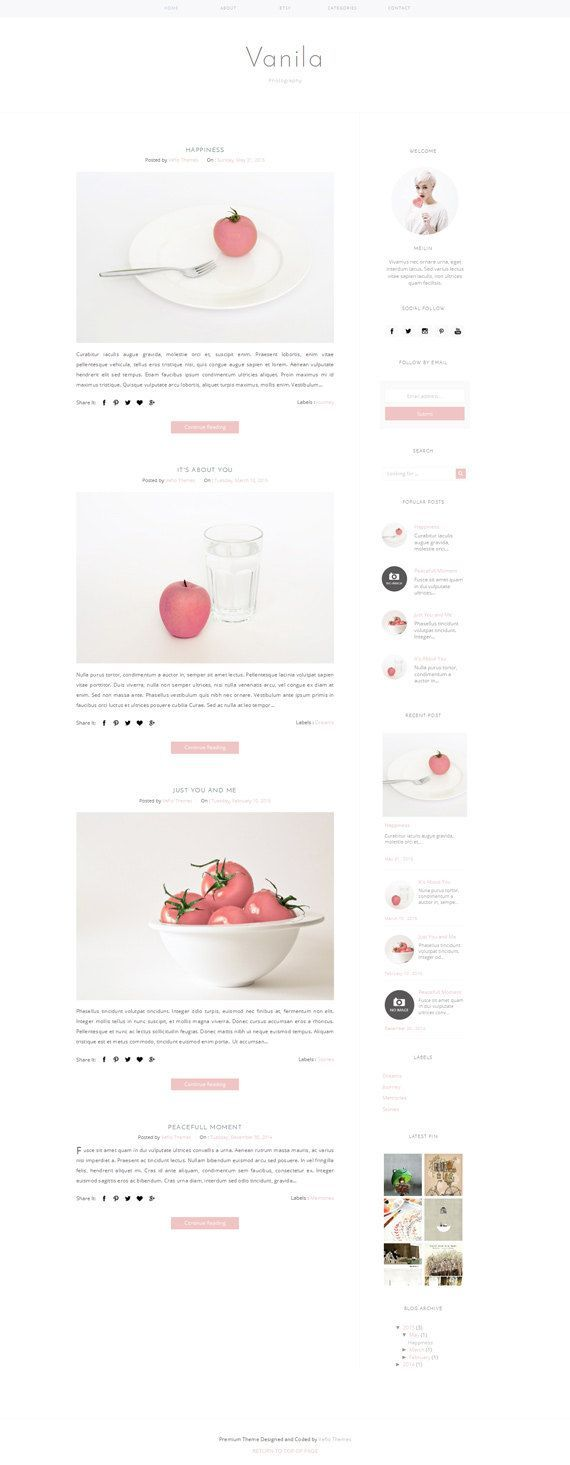 Responsive Premade Blogger Template Clean by VefioThemes on Etsy ...