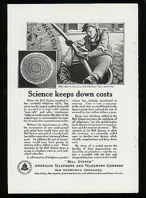 manhole cover lineman cable telephone wires 1922 ad bell system  communications