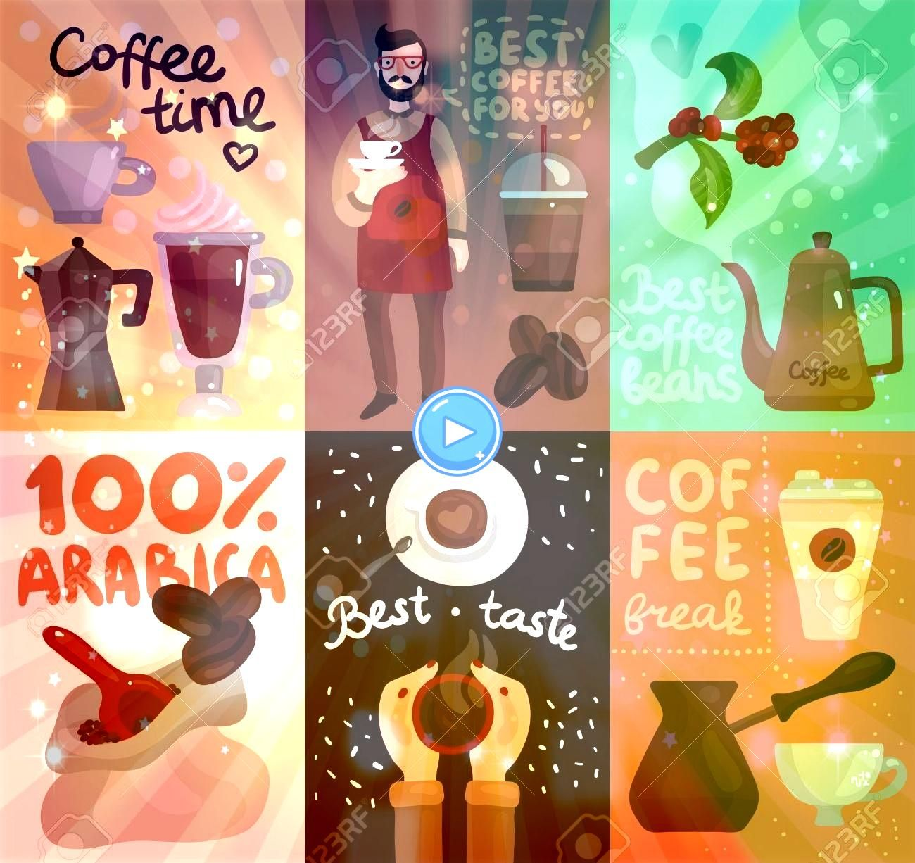 production cards with advertising of best coffee beans and taste of arabica sort flat vector illustration Coffee production cards with advertising of best coffee beans an...